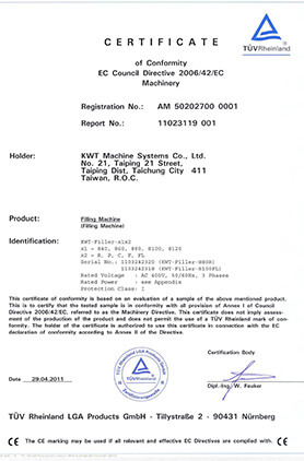 CE Certificate for Labeler in 2011